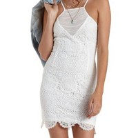Ivory Mesh-Yoke Racer Front Crochet Dress by Charlotte Russe