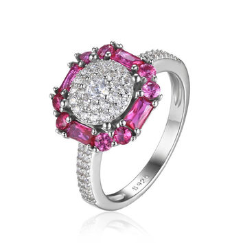 Silver 1.4ct Lab Created Red Ruby Cocktail Ring