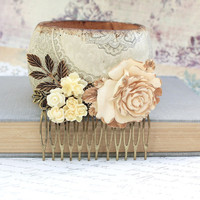 Bridal Hair Comb Wedding Flower Collage Shabby Chic Large Cream Ivory Rose Antique Gold Brass Leaf Leaves Bridal Hair Accessories