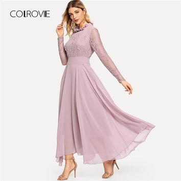 COLROVIE Pink Elegant Lace Mesh Frill High Waist Party Dress Long Sleeve Maxi Dress 2018 Autumn Ruffle Neck Chiffon Women Dress