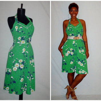 Vintage Green Halter Dress Floral Print
