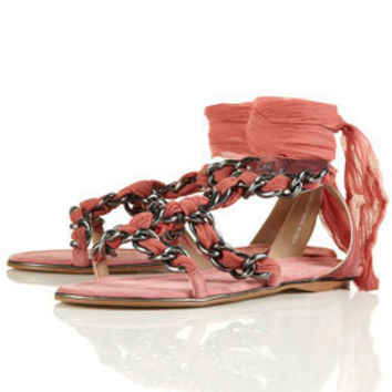 FOLLY Metal Chiffon Sandals - Flats  - Shoes
