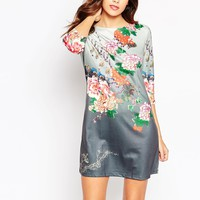 QED London Shift Dress in Eastern Floral Print
