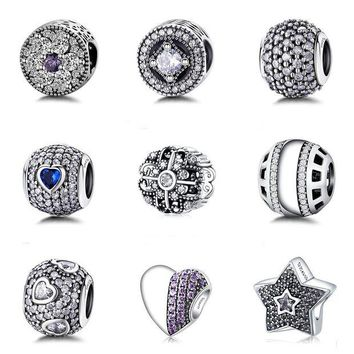 ac spbest 9 Style Authentic 925 Sterling Silver Bead Fashion Crystal Beads Fit Original Women Pandora Charms Bracelet & Bangle DIY Jewelry