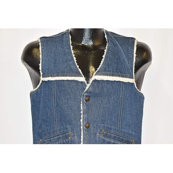 80s Levis Denim Sherpa Lined Red Tab Vest Small