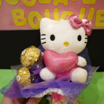 Hello Kitty plush flower bouquet with Ferrero Rocher chocolate. Sweet Valentine's day gift
