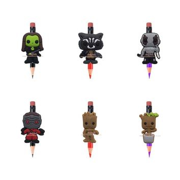 Novelty 6pcs Guardians of the Galaxy Pencil Topper Pencil Cap office supplies Stationery set Gifts Pencil Accessories Kids Gift
