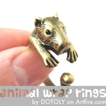 Large Capybara Wombat Animal Wrap Around Hug Ring in Brass - Size 4 to 10 Available
