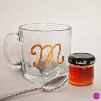 Initial Glass Mug. 10.4oz. Gift for coffee or tea lover, housewarming gift, gift for a teacher, coworker, friend, loved one...or yourself!