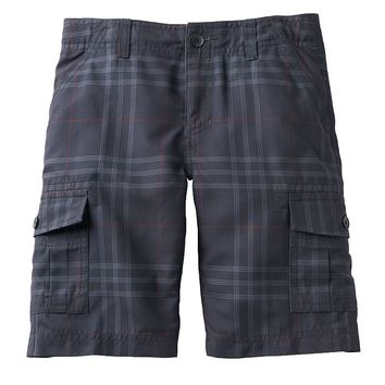 Tony Hawk Microfiber Plaid Cargo Shorts - Boys