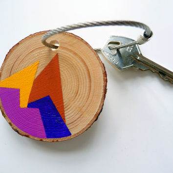 SOUTHWESTERN STYLE-painted wooden keychain purple,painted wood keychain,handpainted keychain,handmade keychain,handmade jewelry,purple key