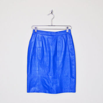 Vintage 80s Electric Blue Leather Skirt Leather Mini Skirt High Waist Skirt Bodycon Body Con Pencil Skirt Motorcycle Skirt Biker Skirt S
