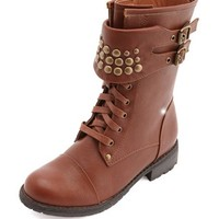 Studded Cuff Combat Boot: Charlotte Russe