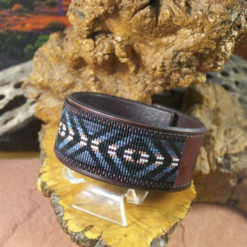 Eye Of The Medicine Man Native American Hand Tooled Leather Bracelet Beaded In Antique Shades of Grey, Copper And Black by LJ Greywolf