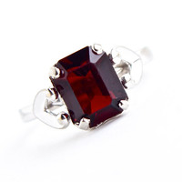 Vintage 10k White Gold Filled Garnet Red Stone Ring -  Size 7 3/4 Designer Espo Mid Century Jewelry / Emerald Cut