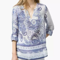 Blue And White Porcelain Print V-neck Long-Sleeve Blouse