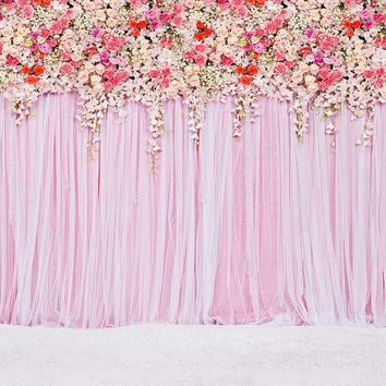 Vinyl Photography Background Computed Printed Flower Wall Wedding Backdrops for Photo Studio CM-6957