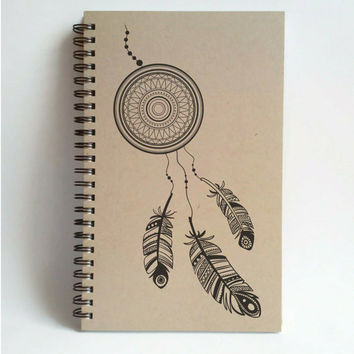 Dreamcatcher, 5x8 writing journal, custom spiral notebook, personalized brown kraft memory book, small sketchbook, scrapbook
