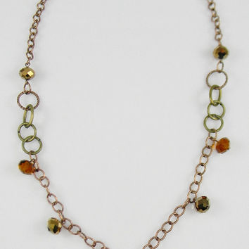 Boho Style Amber Bronze & Copper Chain Beaded Statement Necklace Filigree Sphere Long Updated Victorian Style Jewelry - Bridesmaids Gift