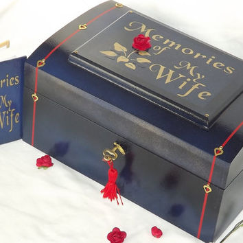 Memories of My WIFE. Real Wood Lock box time Capusle or memorial box. With a matching pocket notebook. Memory box. Blue. Can be personalised