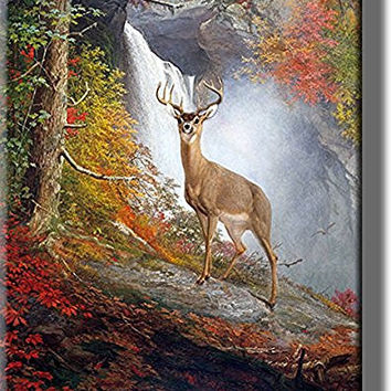 Majestic Stag Picture on Stretched Canvas, Wall Art Decor, Ready to Hang!