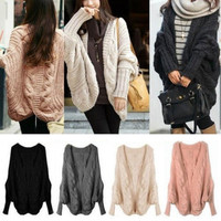 Korea Womens Batwing Sleeve Cardigans Coats Jacket Outwear Sweaters