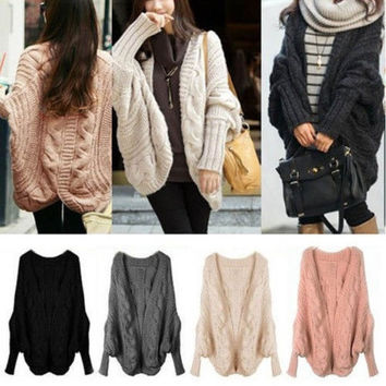 Korea Womens Batwing Sleeve Cardigans Coats Jacket Outwear Sweaters = 1920264004