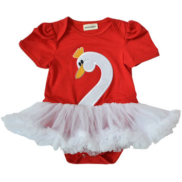 QUIKGROW 0~24 Months Elegant Swan Short Sleeve Ruffled Tulle Baby Girl Tutu Dress Newborn Infant 1 Year Birthday Clothes NY10QZ
