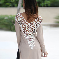 SIMPLE - Hollow Bandage Floral Edged Trimmed Women Long Sleeve Shirt b4979
