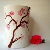 Cherry Blossoms on Vase  Handpainted Porcelain One by ShebboDesign