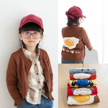 Cartoon Picture Girls Cardigan Sweater Toddler Girls Sweaters Winter Warm Cloth Egg Totoro Minions Knitted Sweater for Boy