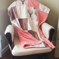 Deer Patchwork Blanket- Tulip Fawn, Deer Skin Minky, Minky, Ivory Crushed Minky, and White Tan Arrow Patchwork Blanket