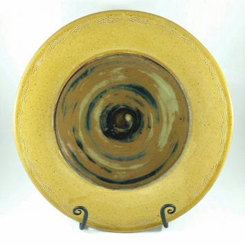 Handmade Pottery Ceramic Platter - handmade serving platter in ceramic pottery stoneware clay with gold and brown/black glaze.