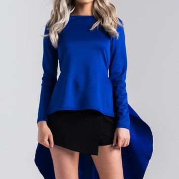 AKIRA Long Sleeve High Low Stretchy Top in Royal Blue, Black
