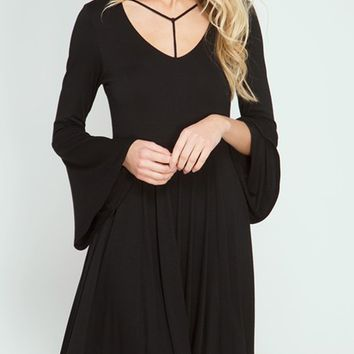 Long Sleeve Skater Dress with Spagetti Strap Neck detail