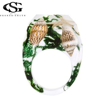 GS New Resin Ring Men Conch Ink Painting Scenery Inside Epoxy Rings Women Finger Punk Jewelry With Birthday Gift Dropshiping Y3