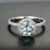 Claw Prongs 7mm Aquamarine .27ct Diamonds 14K White Gold Engagement Promise Ring/Aquamarine Ring/ Aquamarine wedding Ring/Engagement Ring