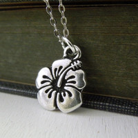 Hibiscus Flower Necklace - Small Silver Hibiscus Flower Charm Silver Chain