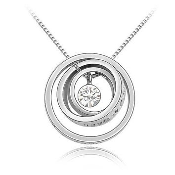 Multi-2 8 Colors Made with SWAROVSKI ELEMENTS 18K Gold Plated Concentric circles pendant Rhinestone crystal necklace #86020