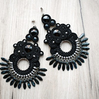 Black extralong soutache earrings with swarovski crystals
