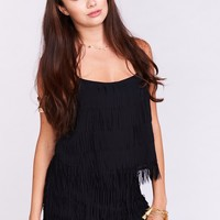 Tia Top ~ Cha Cha Fringe Black