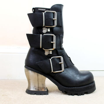 59166ec64071 90s Grunge Goth Black Leather Metal Heel Buckled Chunky Platform Biker Boots  UK 6.5   US