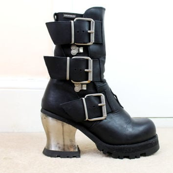 90s Grunge Goth Black Leather Metal Heel Buckled Chunky Platform Biker Boots UK 6.5 / US 9 / EU 39.5
