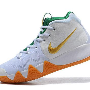 men shoes casual sneakers Kyrie IV Nike Mens Basketball Shoes White Gold-Green Brand sneaker