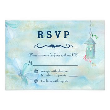 Elegant Floral Boho Summer Wedding RSVP Card