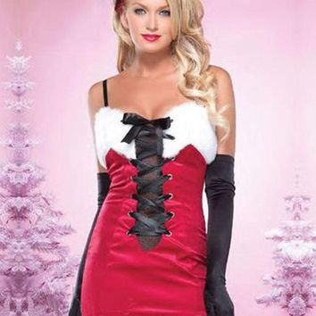 ONETOW Red Furry Christmas Costume women Santa Claus Christmas Helper Fancy Dress Adult Dark Red Fashion Spaghetti Straps Chrismas