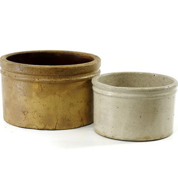 Vintage Stoneware Crock Pair, Butter Crock, Rustic Decor