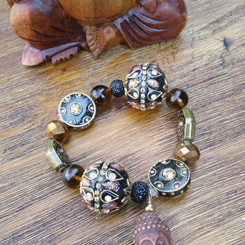 Glam Collection - One of a kind Wood Buddha Charm/Mixed Black Beaded Charms Hand Made