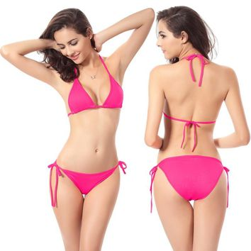 Maxmessy 2017 Women Summer Sexy Beach Swimwear Bikinis Push up Bandage Swimsuit Bathing Suit Bikinis Set Thongs Swim Wear