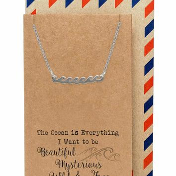 Anya  Ocean Necklace with Wave Charm Pendant for Women, comes with Inspirational Quote, Silver Tone